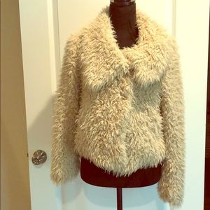 Zara Fuzzy Teddy Bear Soft Outerwear Jacket XS